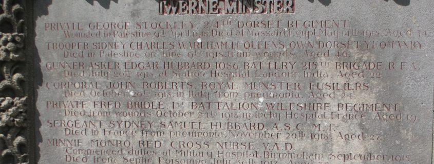Names on Iwerne Minster War Memorial 1