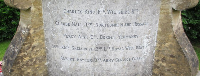 Names on Ludwell War Memorial 1