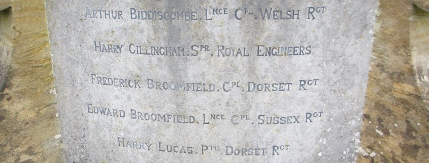 Names on Ludwell War Memorial 2