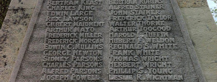 Names on Park Walk War Memorial 2