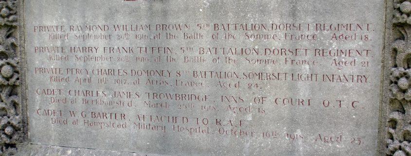 Names on Sutton Waldron War Memorial
