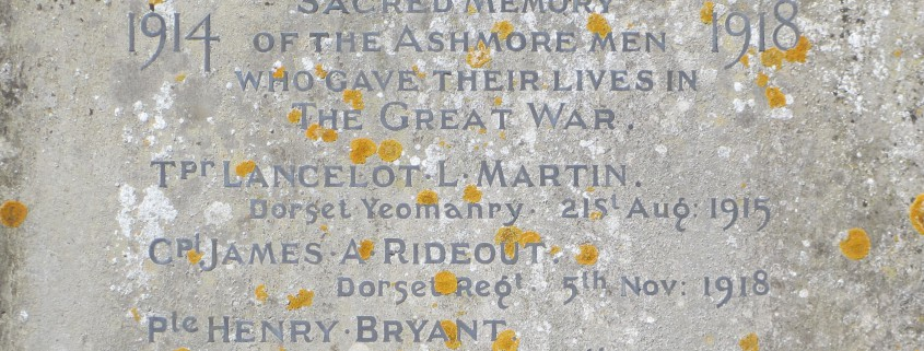 Names on Ashmore War Memorial