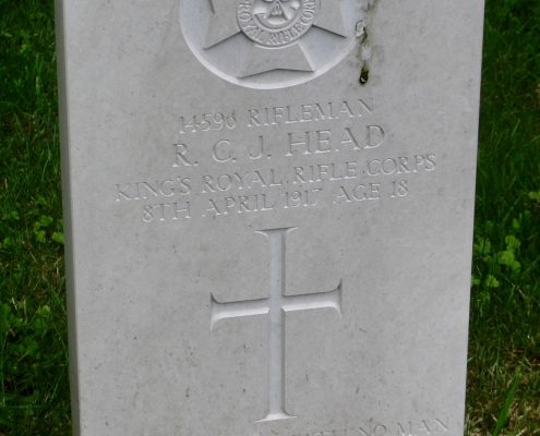 Reginal Charles John Head headstone, Donhead St. Andrew