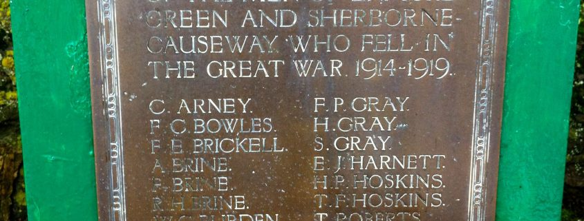 Names on Enmore Green War Memorial