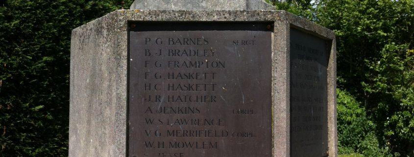 Names on Fontmell Magna War Memorial 1