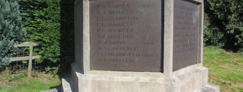Names on Fontmell Magna War Memorial 2