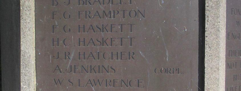 Names on Fontmell Magna War Memorial 4