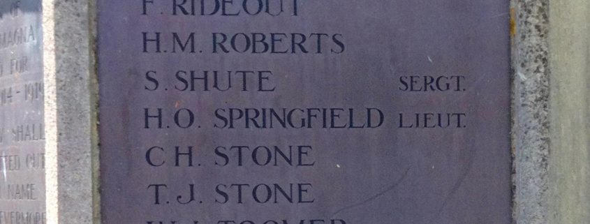 Names on Fontmell Magna War Memorial 5