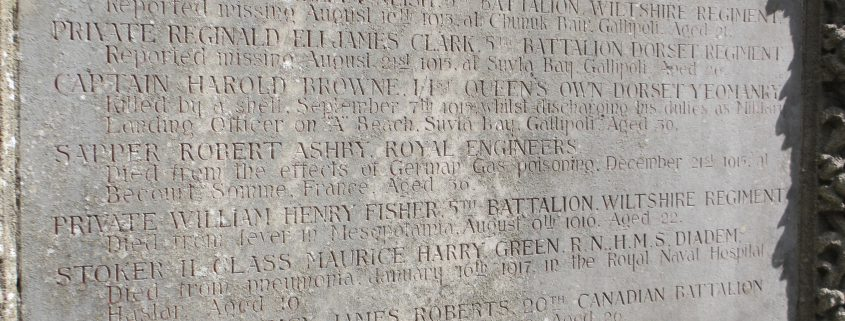 Names on Iwerne Minster War Memorial 2