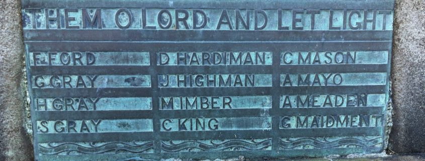 Names on St. James' War Memorial 2