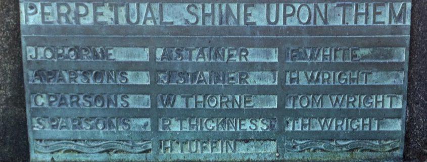 Names on St. James' War Memorial 3