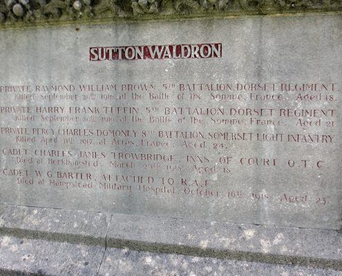 Names on Sutton Waldron War Memorial