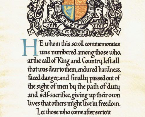 Harry Gray memorial scroll