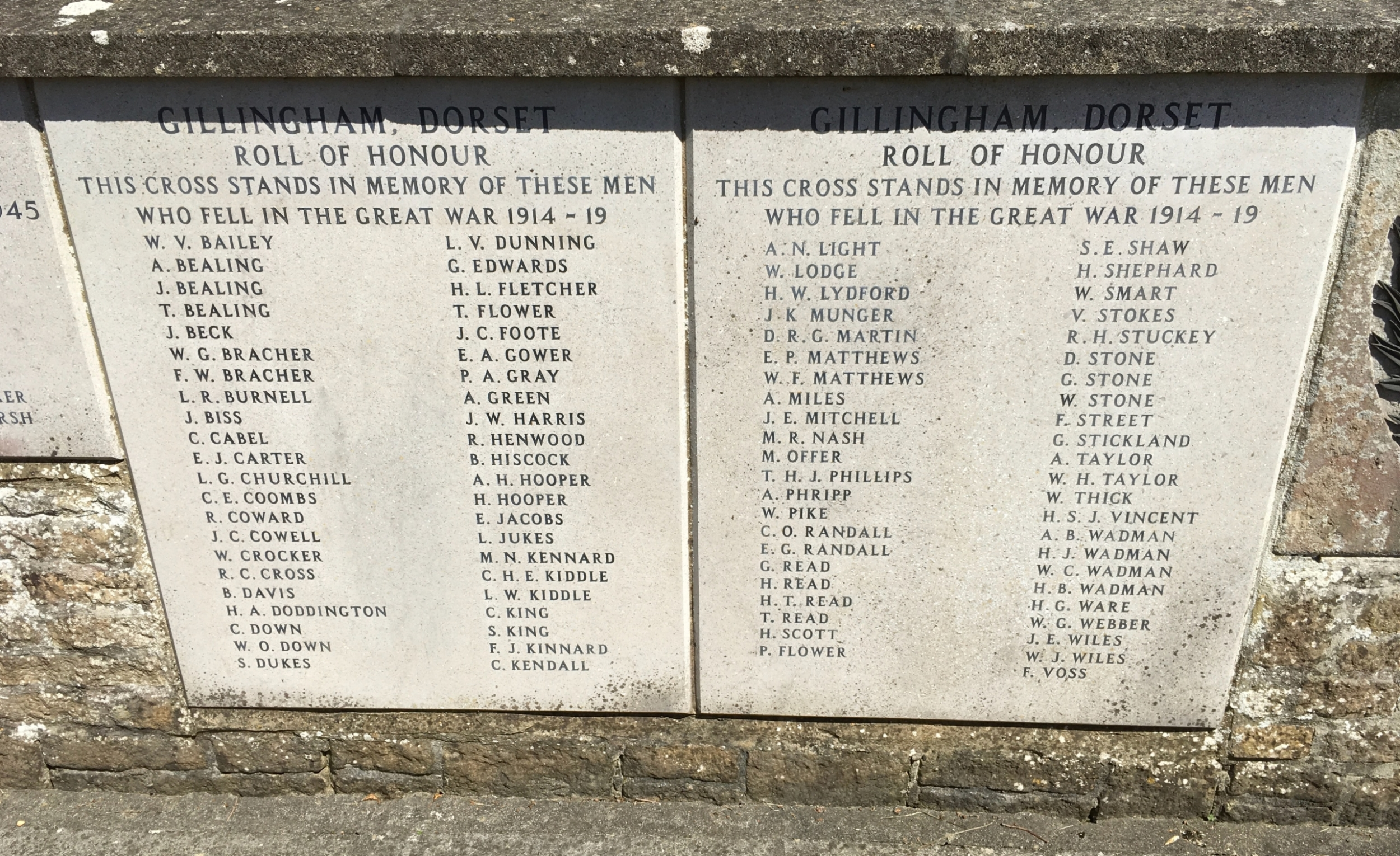 Names on Gillingham War Memorial 2